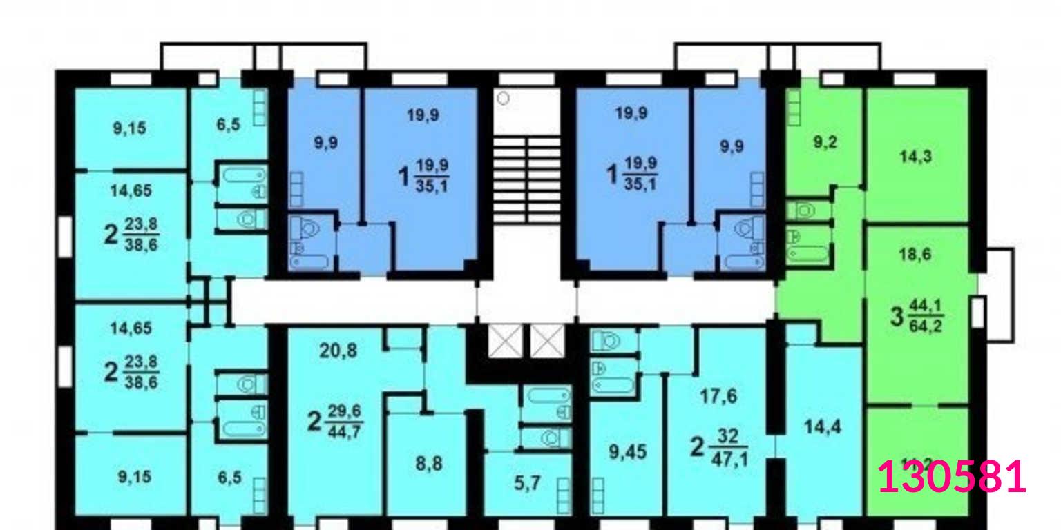 Дома серии ii-18-01/12 - планировка квартир.